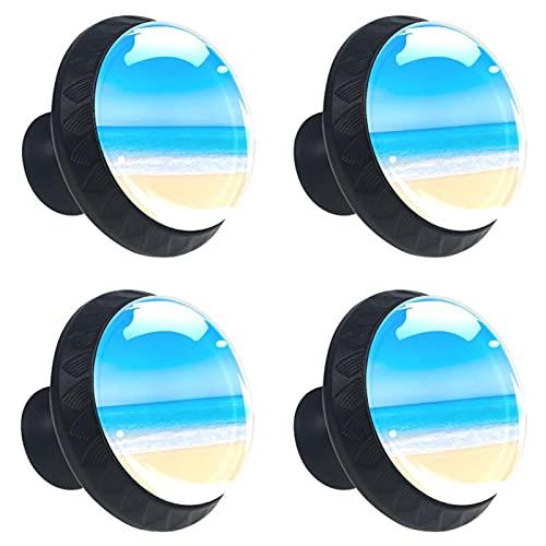 Tiradores para Muebles Niños Paisaje de cielo de playa Pomo para muebles cristal Pomos y Tiradores impresión Manija del cajón Para Habitación Infantil 4 piezas 3.5×2.8CM