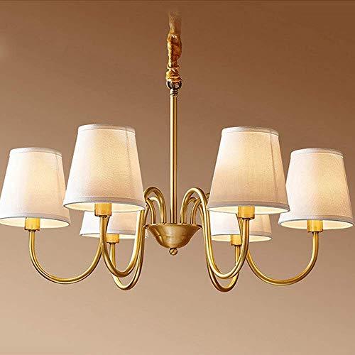 QIDOFAN - Lámpara de techo de cobre americano para sala de estar, comedor, dormitorio, estilo retro, cobre puro, estilo rústico, lámpara de techo, 61 x 61 x 47 cm