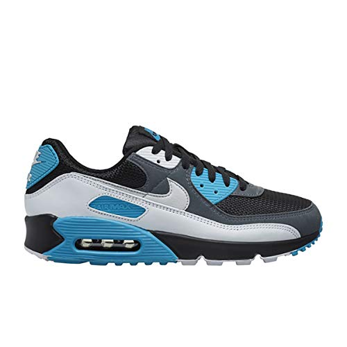 Nike Air MAX 90, Zapatillas para Correr para Hombre, Black Neutral Grey Dk Grey White Laser Blue Mtlc Silver, 45 EU