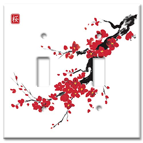 Art Plates 2-Gang Toggle OVERSIZED Switch Plate/OVER SIZE Wall Plate - Red Blossoms