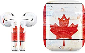 Skinit Decal Audio Skin for Apple AirPods with Wireless Charging Case - Officially Licensed Skinit Originally Designed Canada Flag Light Wood Design