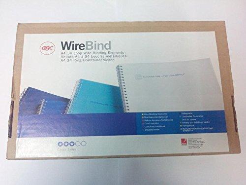 GBC Canutillos de alambre WireBind, A4, 34 anillas, 12,5 mm, blanco, usted recibirá 1 paquete, Contenido: 100 unidades