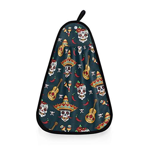 ALARGE Toalla de secado a mano con diseño de calavera de azúcar de México, guitarra étnica, secado rápido, para colgar, corbata, toalla para la cara, paño de cocina, baño, paños de limpieza