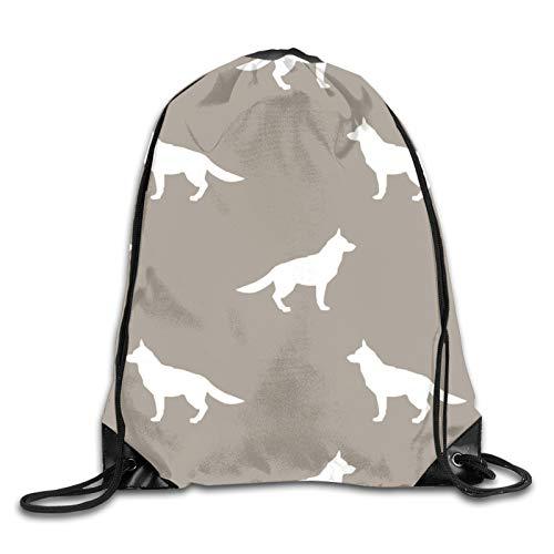 Mochila de hombro con diseño de silueta de pastor alemán Golfo de perro con estampado 3D con cordón, mochila de hombro, bolsa de gimnasio casual para correr