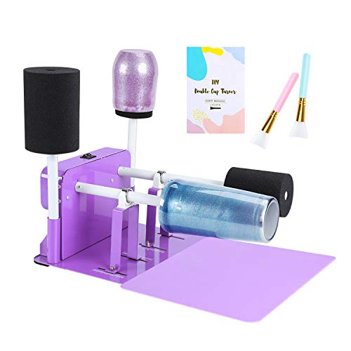 Cup Turner Kit, Double Cup Turner Machine & Drying Rack for DIY Tumblers with 2 Switches on Silent Motor