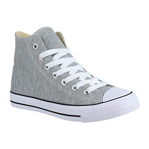 Elara Unisex Sneaker Bequeme Sportschuhe für Damen und Herren High Top Turnschuh Textil Schuhe 014-A LT.Grey 41