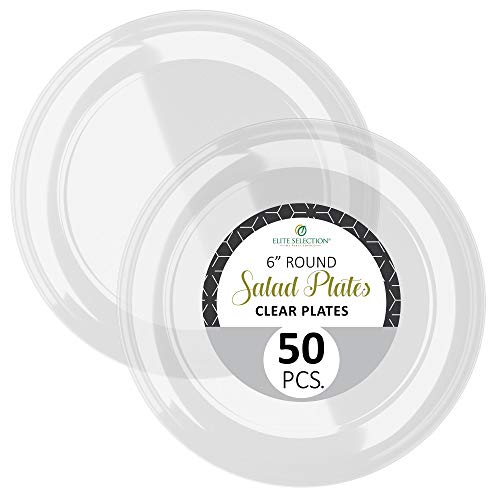 """Disposable Clear Plastic Plates - 50 Pack Hard Round 6"""" Plate for Dinner, Salad, Dessert - Elegant Design for Wedding, Birthday, Party - by Elite Selection"""