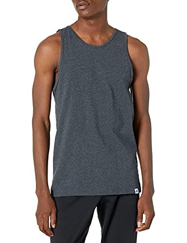 Russell Athletic Men's Cotton Performance Tank Top, Black Heather, XXL