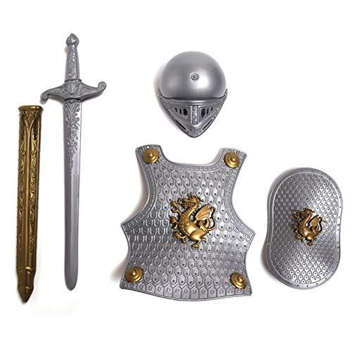 Spray Set di armatura da cavaliere medievale per bambini, vestire spada scudo casco e piastra di petto gioco di ruolo da cavaliere, abbigliamento di Halloween per bambini costume