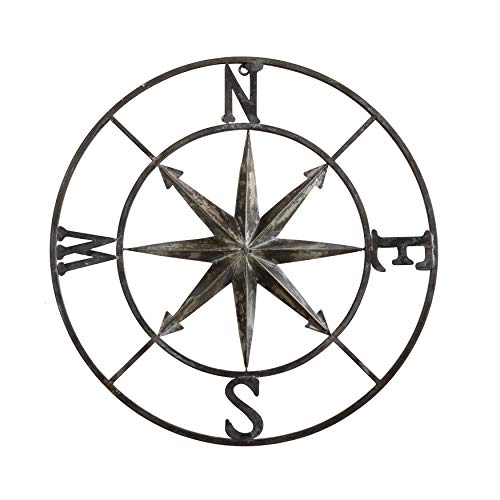 Creative Co-op Decorative Round Metal Compass Wall Décor,