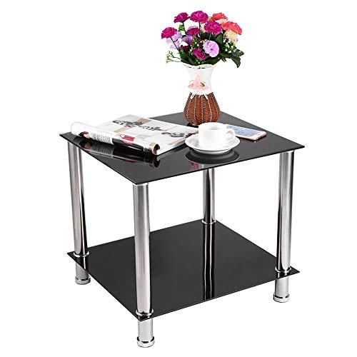 Glazen koffietafel, 2 Tier Vierkant Rechthoek Chroom Benen Dubbele Planken Bijzettafel Modern Zwart Glas Vierkant Display Eindtafel