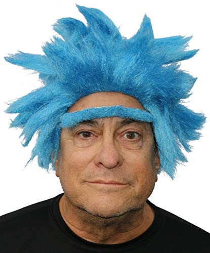 Amazon.com: Rick Wig Blue Spiky Adult Wig and Eyebrow Costume Goku Cosplay Wig For Men and Women Stick On Blue Unibrow: Beauty