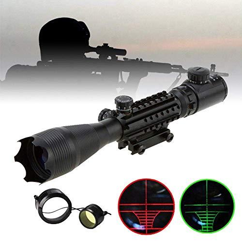 Aufun Zielfernrohr Luftgewehr 22mm Gewehrzielfernrohre mit Montage Schiene Montagen Rot Und Grün Punkt Visier Rifle Scope für Taktische Armbrust Jagd und Sport, 4-16x50EG