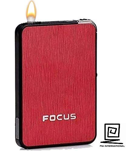 STAR MAGIC® Ultra Thin Automatic Cigarette Case with Refillable Lighter
