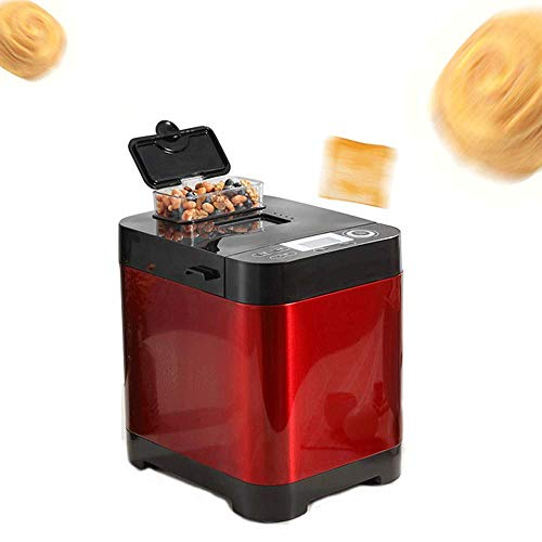 AILZNN Automatische Brotbackmaschine, 450w Brotbackmaschine Mit Nussspender, LCD-Bildschirm, 6 Seitlich Verbrannte Farben, 18 MenüS, Terminzeit, Rot