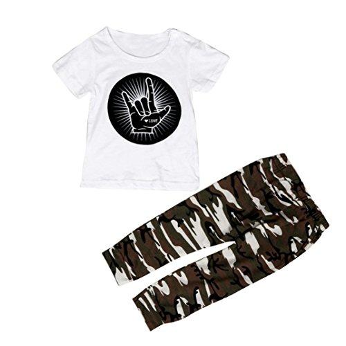 kingko® 1Réglez Infant Toddler Bébés garçons Imprimer manches courtes T-shirt Tops + Pantalons Tenues Vêtements (24M)