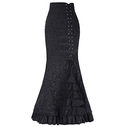 Lenfesh Mujeres Vestidos Ajustado Vintage Retro Años 50 Mujeres Faldas Elegantes Atractiva Maxi Faldas Gótica Plisada con Pliegues