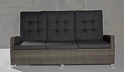 3-Sitzer Gartensofa Barcelona grau-Mix Loungesofa Sofa Gartenmöbel Living-Sofa Polyrattan