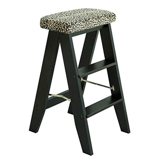 Drie Step Ladder, massief houten Kruk Keuken/Badkamer Kruk Home Interior Ladder Kledingwinkel/Coffee Shop Stepladder 3 kleuren (Kleur: Bruin, Maat: 34 * 32 * 60CM) XIUYU