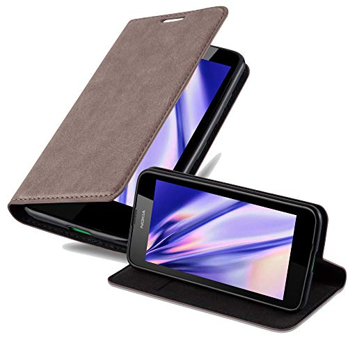 Cadorabo Hülle für Nokia Lumia 630 - Hülle in Kaffee BRAUN – Handyhülle mit Magnetverschluss, Standfunktion & Kartenfach - Case Cover Schutzhülle Etui Tasche Book Klapp Style
