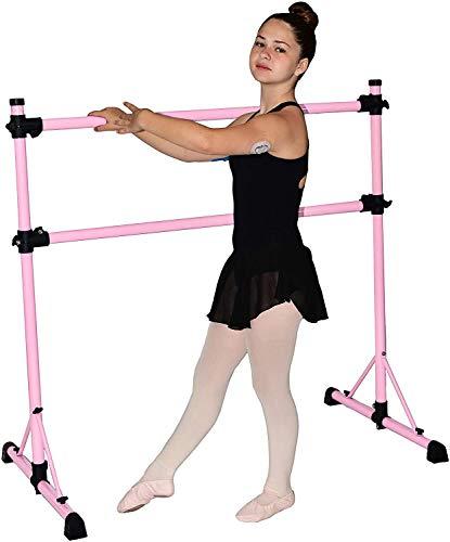 Barra de ballet portátil doble independiente de 4 pies, barra elástica y de baile, barra de fitness de 4 pies, base de 29 pulgadas (rosa brillante)