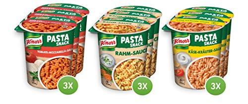 Knorr Vegetarische Pasta Snack Becher - Multipack mit Käse-Kräuter Sauce, Rahm-Sauce, Tomate-Mozzarella Sauce (3x 3 Portionen, 9 Becher)