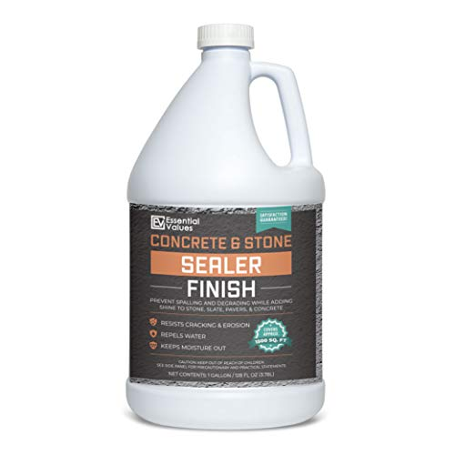 Essential Values 1 Gallon Concrete Sealer (Covers 1500 Sq Ft) – Acrylic Emulsion Formula - Clear or Wet Sealant for Indoor/Outdoor Surfaces - Perfect for Concrete | Driveways | Garages | Basements