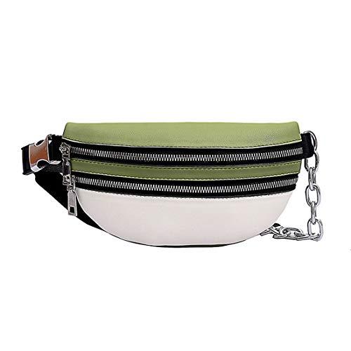 heavKin Women's Casual Sport Fitness Splice Waist Bag - Travel Waist Pack Riding Backpack Messenger Shoulder Bag -Adjustable Belt (White, 23X13X5CM)