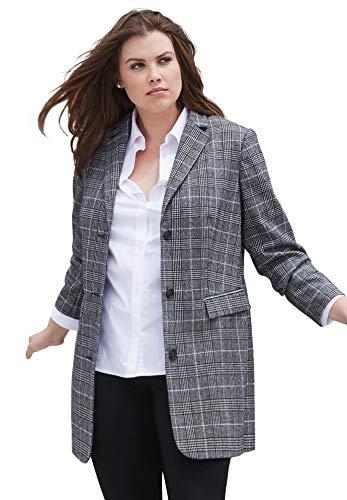 ellos Women's Plus Size Long Wool Blend Blazer - 28, Black White Plaid