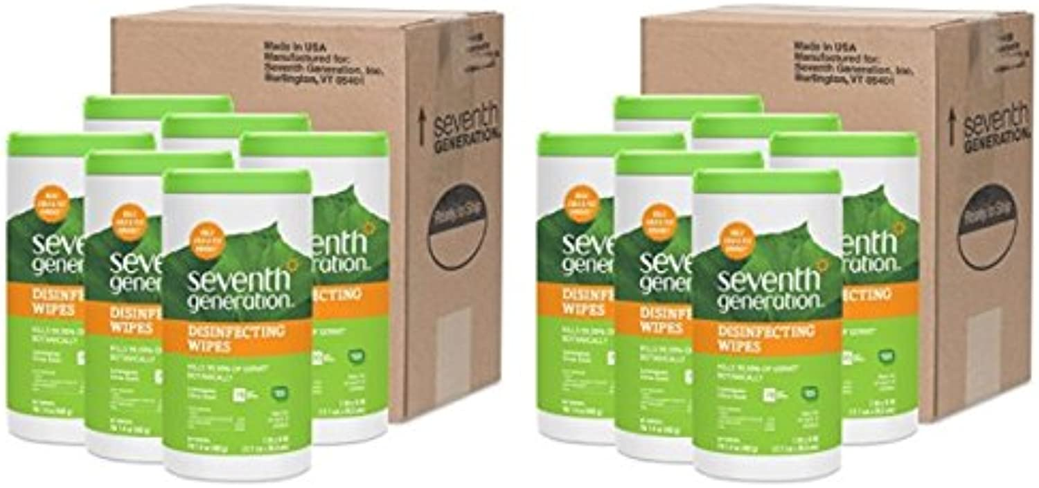 Seventh Generation Disinfecting Multi-Surface Wipes, 70-count Tubs (Pack of 12) Packaging May Vary