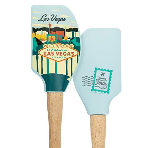 Tovolo Tour Spatula-Las Vegas Heat Resistant Silicone & Wood Cooking Kitchen Utensils Non-Stick for Baking, Spreading and Mixing Ergonomic, Dishwasher Safe Bakeware BPA Free, 1, Multi