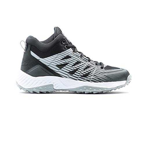 Boombah Men's Challenger Mid Turf Shoes Black/Gray - Size 10.5