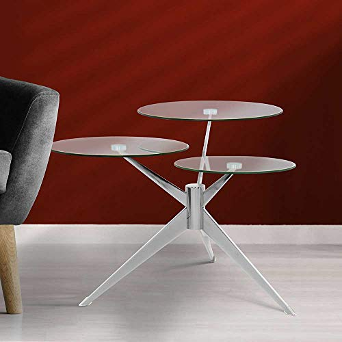Pharao24 Design Couchtisch mit DREI runden Tischplatten Retro Style