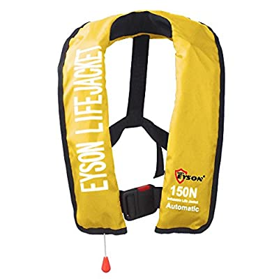Eyson Soft Inflatable Life Jacket Vest PFD for Adults Automatic/Manual (Yellow)