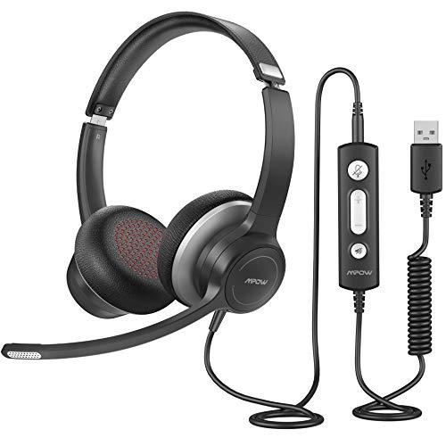 Mpow PC Headset HC6 PRO, USB-Headset mit Mikrofon, Leicht Computer Headset mit Rauschunterdrückungs-Soundkarte, Inline-Steuerung für Skype, Webinar, PC, Handy