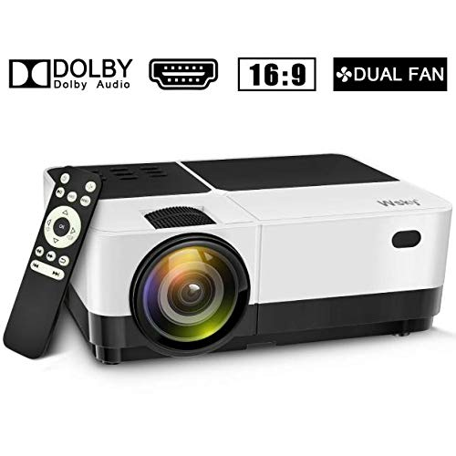 Wsky 2019 Newest LCD LED Outdoor Portable Home Theater Video Projector, Mini LED Home Theater Entertainment Projector 1080P Supported, Compatible with PS4, HDMI, VGA, TF, AV and USB