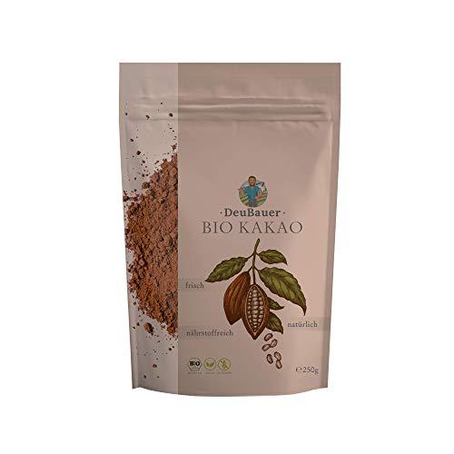 deubauer ® Kakao- 250 gr - Kakaopulver perfekt als Trinkschokolade oder Backkakao - Kakaopulver ohne Zucker für Premium Genießer - Kakaopulver stark entölt & 100% BIO