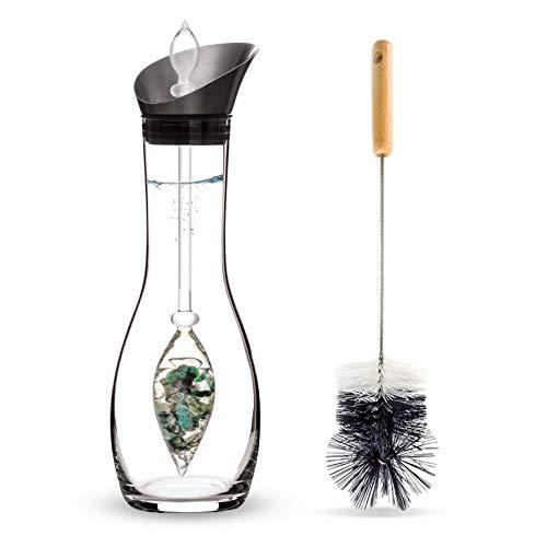 Vitajuwel Vitality Edelsteinwasserset für Zuhause (Karaffe Era & Phiole & Reinigungsbürste) mit Smaragd & Bergkristall