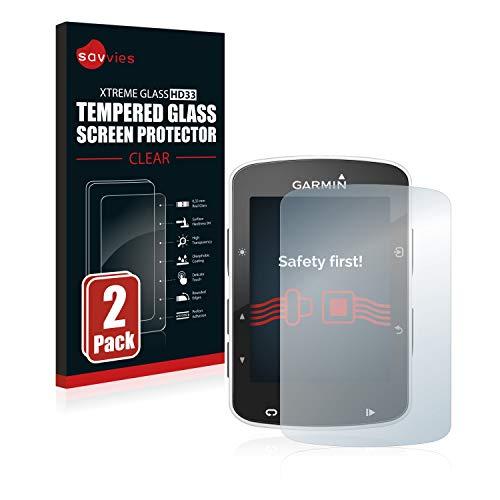 Savvies Panzerglas kompatibel mit Garmin Edge 520/820 (2 Stück) - Echt-Glas, 9H Härte, Anti-Fingerprint
