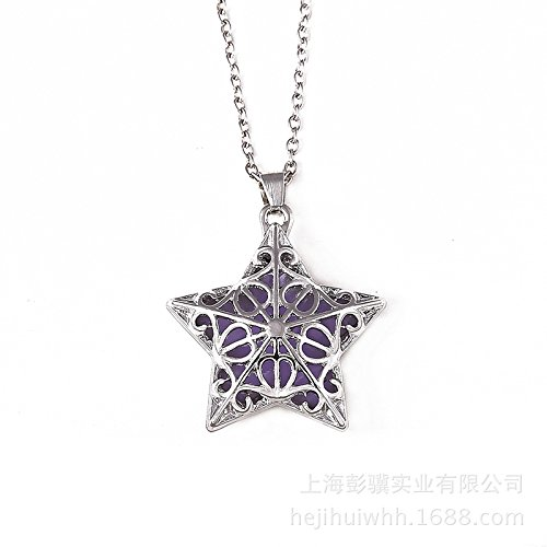 Yuhemii donna popular luminoso cinque – appuntito collana Hollow Starfish Pendants Jewelry Gift viola Purple