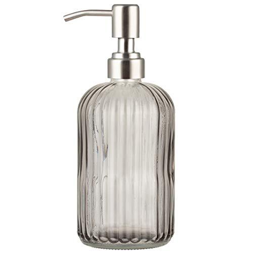 Dispensador de jabón de cristal Plomkeest de 14 oz con dispensador de jabón líquido de acero inoxidable a prueba de óxido, dispensador de jabón líquido para baño