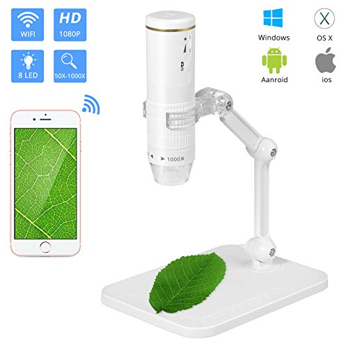 CAMWAY Microscopio WiFi,Set Microscope Digital USB Tascabile Portatile Ricaricabile,Microscopia da 50X a 1000X con 8 LED,Supporto in Metallo per iPhone IOS Android Phone ipad Windows MAC(Bianco)