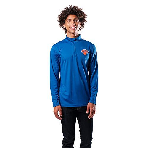 Ultra Game NBA New York Knicks Mens Quarter-Zip Pullover Active Shirt, Team Color, Medium