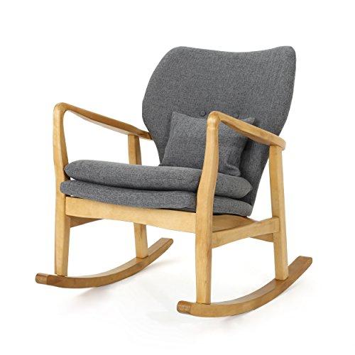 GDF Studio Beryl Mid Century Modern Grey Fabric Rocking Chair