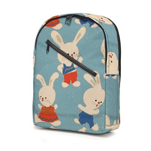Mochila de dibujos animados con patrón de conejo blanco pequeño, resistente al agua, bolsas de escuela, bolsas ligeras, bolsa de viaje, gran capacidad para niños, niñas, adolescentes y adultos