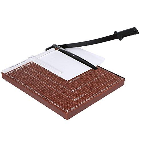 Stapelschneider Papierschneider Hebelschneider für Papier Papierschneidegerät mit Hilfslinie (bis DIN A3/A4, 12 Blatt Schneidleistung) für Foto, Pappe und Papier (Braun, A3)