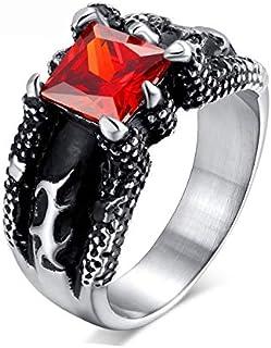 خاتم دراجون كلو ريترو عتيق للرجال حجر تطعيم الإبهاج مجوهرات خاتم أحمر