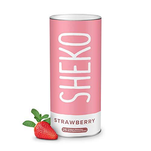 Sheko Diätshake zum Abnehmen | Erdbeer Protein Pulver | 25 Portionen Mahlzeit Ersatz inkl. Shaker | Ideal als Eiweißshake oder Mahlzeitersatz