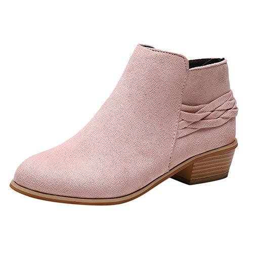 TWIFER Botines para Mujer Botas Cremallera Tacón Ancho Boots otoño Invierno Zapatos Casuales Antideslizante Tacón Ancho Moda Fiestas Oficina Negro Marrón Rosado 35-41
