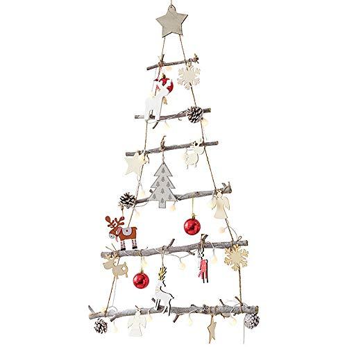 SLHP Ramo di betulla da appendere, albero di Natale, decorazione da parete in legno, corda di Natale, decorazione per scale